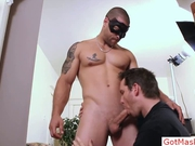 Tatooed muscle stud getting sucked