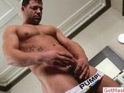Muscled mature guy stripping by gotmasked