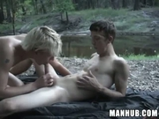 2 dudes fucking on a camp site