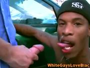 Skinny thug rides white cock in parking lot