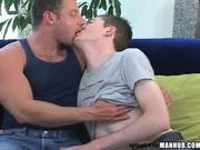 Hairy muscle daddy takes 18 y/o to the house