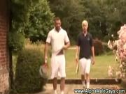 Tennis daddy gives blond multiple lessons