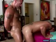 Mature gay masseur assfucks a straight client