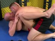 Sexy hunk gets sucked on the gym mat