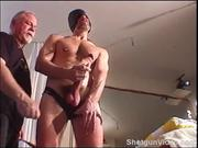 CBT Hung dude jacks as I bash his balls.