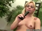 Horny shemale masturbates plus dildo