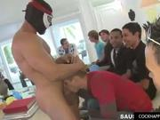 Several guys order a male stripper