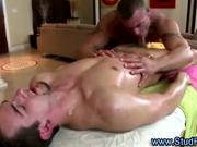 Mature gay masseur sucks his straight client