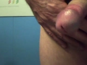Enjoying a wank, closeup of cum shot