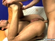 Hot bareback action ends with cum swap