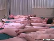 Four guys masturbating at the same time