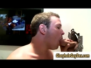 Gay gets glory hole facial