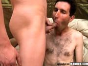 Skinny hairy dude takes a fat RAW dick