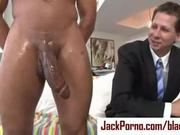 Business man can&#039;t handle giant black cock