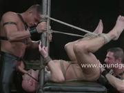 Phenix Saint tied up in bondage and flogged