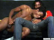 Hot gay black men butt fucking on couch