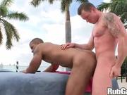 Muscular interracial outdoors gay sex