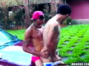 Skinny Latin studs fuck outdoors on a car